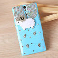 Bling Little lamb Crystals Cases Diamond Covers for Sony Ericsson LT26i Xperia S - Blue