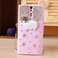 Bling Little lamb Crystals Cases Diamond Covers for Sony Ericsson LT26i Xperia S - Pink