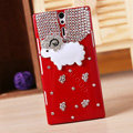 Bling Little lamb Crystals Cases Diamond Covers for Sony Ericsson LT26i Xperia S - Red