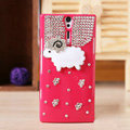 Bling Little lamb Crystals Cases Diamond Covers for Sony Ericsson LT26i Xperia S - Rose