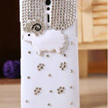 Bling Little lamb Crystals Cases Diamond Covers for Sony Ericsson LT26i Xperia S - White