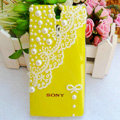 Bling Pearl Lace Cases Hard Covers for Sony Ericsson LT26i Xperia S - Yellow