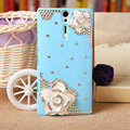 Bling White Flower Crystals Cases Hard Covers for Sony Ericsson LT26i Xperia S - Blue