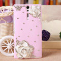 Bling White Flower Crystals Cases Hard Covers for Sony Ericsson LT26i Xperia S - Pink