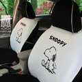 FORTUNE Snoopy Autos Car Seat Covers for Honda Accord EX-L V-6 Sedan - White