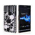 Bling 3D Flower Rhinestone Crystal Cases Covers for Sony Ericsson LT26i Xperia S - Black