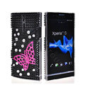 Bling Butterfly Rhinestone Crystal Cases Covers for Sony Ericsson LT26i Xperia S - Black