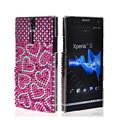 Bling Heart Rhinestone Crystal Cases Covers for Sony Ericsson LT26i Xperia S - Pink