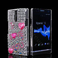 Bling I love you Rhinestone Crystal Cases Covers for Sony Ericsson LT26i Xperia S - White