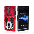 Bling Mickey Mouse Rhinestone Crystal Cases Covers for Sony Ericsson LT26i Xperia S - Red