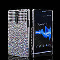 Bling Rhinestone Crystal Cases Skin Covers for Sony Ericsson LT26i Xperia S - White