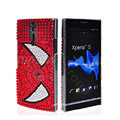 Bling Spider-Man Rhinestone Crystal Cases Covers for Sony Ericsson LT26i Xperia S - Red