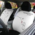 FORTUNE Human Touch Heart tree Autos Car Seat Covers for Honda Civic DX Coupe - White