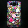3D Flower Bling Crystal Cover Diamond Rhinestone Cases For Samsung Galaxy S III 3 i9300 I9308 - Green
