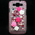 3D Flower Bling Crystal Cover Diamond Rhinestone Cases For Samsung Galaxy S III 3 i9300 I9308 - Rose