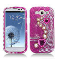 3D Heart Bling Crystal Cover Rhinestone Diamond Cases For Samsung Galaxy S III 3 i9300 I9308 - Rose