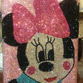 Bling Swarovski Minnie Mouse covers diamond crystal hard cases for iPad 2 / The New iPad - Pink