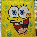 Luxry Bling covers Spongebob diamond crystal hard cases for iPad 2 / The New iPad - Yellow