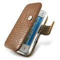 IMAK Side Flip Crocodile leather Cases Luxury Holster Covers for Nokia N97 mini - Brown