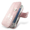 IMAK Side Flip Crocodile leather Cases Luxury Holster Covers for Nokia N97 mini - Pink