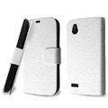 IMAK Slim leather Cases Luxury Holster Covers for HTC T328W Desire V - White
