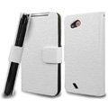 IMAK Slim leather Cases Luxury Holster Covers for HTC T328d Desire VC - White