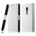 IMAK Slim leather Cases Luxury Holster Covers for Sony Ericsson LT28i Xperia ion - White