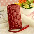 GUCCI leather Cases Luxury Holster Covers Skin for iPhone 5 - Red
