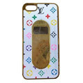 LV LOUIS VUITTON Luxury leather Cases Hard Back Covers for iPhone 5 - White