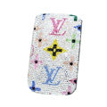 Luxury Bling Holster Covers LV Louis Vuitton diamond Crystal Cases for iPhone 5 - White