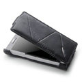 ROCK Flip leather Cases Holster Skin for Sony Ericsson LT26ii Xperia S - Black