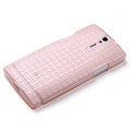 ROCK Magic cube TPU soft Cases Covers for Sony Ericsson LT26ii Xperia S - Pink (High transparent screen protector)
