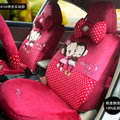 Fashion mexi monkey Cartoon Universal Auto Car Seat Covers Short velvet 18pcs - Rose
