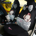 Fashion Mexi Monkey Zebra Cartoon Universal Auto Car Seat Covers Short velvet 18pcs - Black