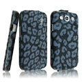 IMAK Leopard leather Cases Luxury Holster Covers for Samsung Galaxy SIII S3 I9300 I9308 I939 I535 - Blue