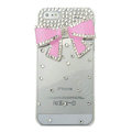 Bowknot diamond Crystal Cases Bling Hard Covers for iPhone 5 - pink