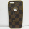 LOUIS VUITTON LV leather Cases Luxury Hard Back Covers Skin for iPhone 5 - Brown
