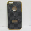 LV LOUIS VUITTON Luxury leather Cases Hard Back Covers Skin for iPhone 5 - Grey