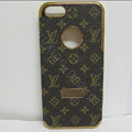 LV LOUIS VUITTON leather Cases Luxury Hard Back Covers Skin for iPhone 5 - Brown