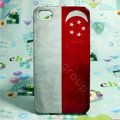 Retro Singapore flag Hard Back Cases Covers for iPhone 4G/4GS