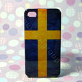 Retro The Kingdom of Sweden flag Hard Back Cases Covers for iPhone 4G/4GS - Blue