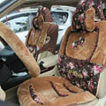 Bow Universal Auto Car Front Rear Seat Cover Cushion Set Plush 8pcs - Coffee
