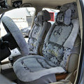 Bow Universal Auto Car Front Rear Seat Cover Cushion Set Plush 8pcs - Grey