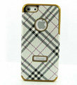 Burberry Luxury leather Cases Hard Back Covers for iPhone 5 - White