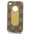 Luxury GUCCI leather Cases Hard Back Covers for iPhone 4G/4S - Brown
