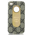 Luxury GUCCI leather Cases Hard Back Covers for iPhone 4G/4S - Grey