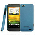 IMAK Cowboy Shell Quicksand Hard Cases Covers for HTC One V Primo T320e - Blue (High transparent screen protector)