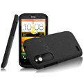 IMAK Cowboy Shell Quicksand Hard Cases Covers for HTC T328W Desire V - Black (High transparent screen protector)