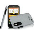 IMAK Cowboy Shell Quicksand Hard Cases Covers for HTC T328W Desire V - Gray (High transparent screen protector)