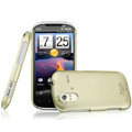 IMAK Titanium Color Covers Hard Cases for HTC Ruby Amaze 4G - Gold (High transparent screen protector)